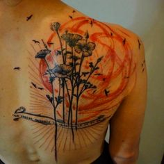 By Tattoo Artist Xoil.   poppies - wild flowers, california native,  red swirls in back, like the chaotic look, could do lightening in that affect or running water (blue)