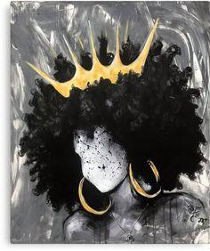 Naturally Queen Art Print by michaelmiagan - X-Small Black Love Art, Black Girl Art, Art Girl, Black Girls, Black Art Painting, Black Artwork, Afro Painting, African American Art, African Art