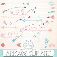 "Arrow clip art: "" ARROWS CLIP ART"" with arrow clipart, hand drawn arrows, digital arrow, arrows clipart + 1 Free old digital paper #partysupplies #pink #blue #planner #digitalpaper #tribal #scrapbookpaper #romantic"