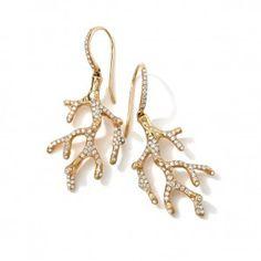 Ippolita 18K Gold Stardust Pavé Diamond Reef Earrings-Diamond