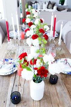 Holidays And Events, Fourth Of July, Red And White, Table Decorations, Party, Blog, Teacups, Norway, Celebration