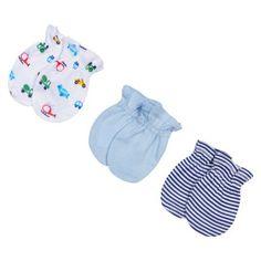 Gerber Onesies® Newborn Boys' 3 Pack Mitten Set - Transportaion 0-3 M