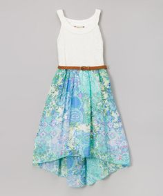 Another great find on #zulily! Mint Lace Belted Hi-Low Dress - Girls #zulilyfinds
