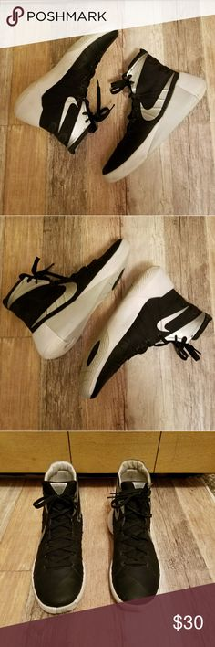 Nike Hyperdunk 2015 hightops Black and white with gray Nike logo super hightops. I bought them at a thrift store for my son and I got them home and he didn't like them. Very good condition. Nike Shoes Athletic Shoes