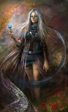 Goddesses of Hyrule. She's Nayru, the goddess of wisdom.