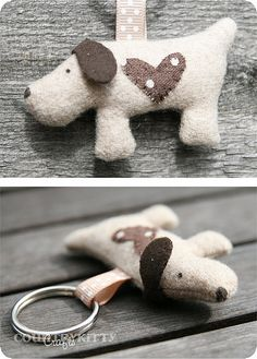 Sweet dog keychain ~ handmade by country kitty. Fabric Crafts, Sewing Crafts, Sewing Projects, Craft Projects, Tape Crafts, Craft Ideas, Dog Crafts, Animal Crafts, Kids Crafts