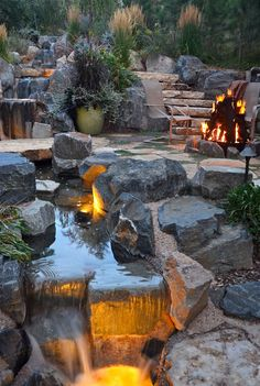 Pool Water Feature Backyard Stream, Backyard Water Feature, Pool Water Features, Waterfall Features, Garden Waterfall, Front Yard Landscaping, Water Garden, Outdoor Projects, Exterior Design