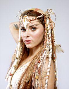 headdress, headdresses, bone headdress,  wig, dreads, white headdress, dreadfalls, tribal, tribal headdress, feather headdress, witch, witchy, goddess, gypsy, festival wear, burlesque, faery, fairy, faerie, fantasy, burningman, queen, woodland faery, nymph, lotuscircle, www.etsy.com/shop/lotuscircle