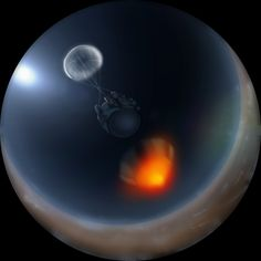 """Galileo probe descending into Jupiter's atmosphere (visualization), a scene from the Space Show, """"Dark Universe"""". (Credit: ©AMNH) The probe lasted nearly an hour before it was crushed by the pressure. Among its measurements was the ratio of hydrogen to deuterium, which turned out to be as predicted by the Big Bang theory. Mona Evans, """"Dark Universe- film review"""" http://www.bellaonline.com/articles/art183252.asp"""