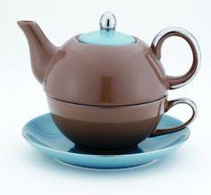 Siena Brown & Blue Tea for One, 14 oz