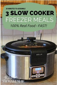 3 Slow Cooker to Freezer Meals - Easy Dinners with Recipes - Chicken Taco Soup, Chicken Curry, Chicken Fajitas