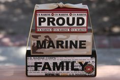 Proud Marine Mom, Wife  or Family Stacking Decorative Wood Blocks by WhimsicalMarket