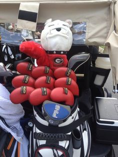 """May 20, 2013: """"It was easy to spot @Hud_swafford golf bag this morning! Loving the full set of iron covers #promove,"""" said PGA Tour player Nate Smith about his compatriot Hudson Swafford's tricked-out gear."""