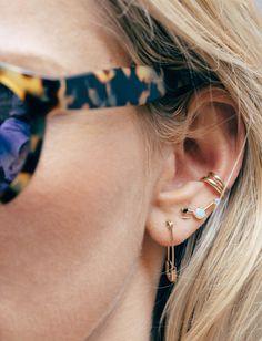 tiny earrings + tortoise sunnies.