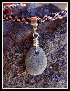 Kumihimo Necklace with Beach Stone Pendant and Sterling Silver Clasp. $35.00, via Etsy.