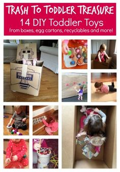 Turn trash into fun toys for toddlers! 14 DIY Toddler Toys from Playground Parkbench.
