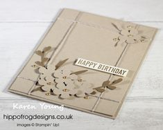Birthday Card. Handmade using Small Bloom Punch, Sprig Punch, Vases Builder Punch, Itty Bitty Birthdays Stamp Set, Linen Thread and Metallic Pearls from Stampin' Up! Visit www.hippofrogdesigns.co.uk for more project ideas. Birthday Cards, Happy Birthday, Class Projects, Project Ideas, Vases, Punch, Stampin Up, Birthdays, Metallic