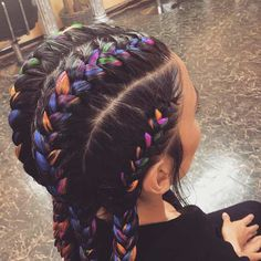 Colorful Straight Back Cornrows with Extensions