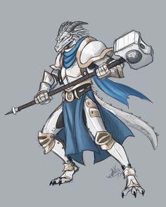 M white Dragonborn paladin cleric