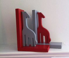Pair of Red and Grey Giraffe Bookends  custom by ProfessorFinley