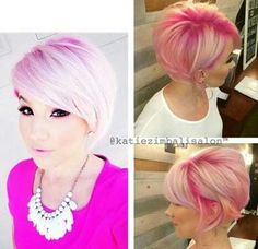 Cute Pink Pixie Hairstyles for Girls
