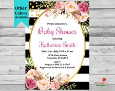 Floral Baby Shower Invitation, Black & White Baby Shower Invitation, Gender Neutral, Custom Digital Printable NOT Instant Download, C24