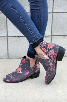 Runs True to Size. Floral Leather Bootie with Cut-out Side Detail Leather upper…