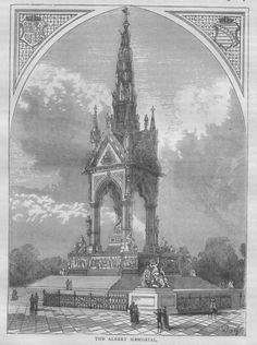 The Sylver Zone is pleased to offer:  The Albert Memorial, c1890 illustrated book print  This 5 x 6.5 illustration of the Albert Memorial is in