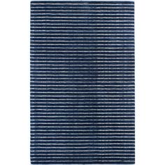 "Fuller Rug in Navy  with white stripe (100% wool)  3'6"" x  5'6""  was $409.99 76% off     $98.99   jossandmain.com"