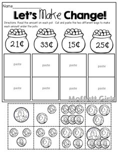 Count the coins, cut and paste to make change 2 different ways!