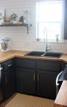 Dark Grey Kitchen Cabinets With Wood Countertops Farmhouse Kitchen Decor, Kitchen Redo, New Kitchen, Kitchen Ideas, Country Kitchen, Vintage Kitchen, Basic Kitchen, Industrial Farmhouse, Minimalist Kitchen