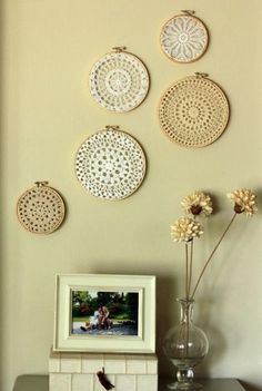 Crochet doilies framed with embroidery hoops make great wall decor