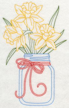 Blooming Daffodils in Mason Jar (Vintage) design (L9387) from www.Emblibrary.com