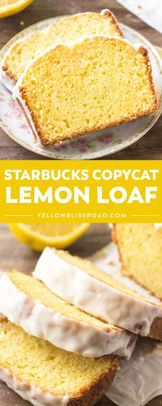 If you love the lemon desserts - then you need to try this Starbucks Copycat Lemon Loaf! It's buttery, moist, bursting with #lemon flavor, and topped with sweet lemon glaze! #YellowBlissRoad #copycat #starbucks #lemonloaf #breakfast #brunch #dessert Lemon Dessert Recipes, Lemon Recipes, Sweet Recipes, Delicious Desserts, Yummy Food, Desserts With Lemon, Healthy Lemon Desserts, Dinner Recipes, Loaf Recipes