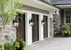 Fiberglass Garage Doors. Wood looking Fiberglass Garage Doors. Fiberglass Garage Doors #FiberglassGarageDoors Hendel Homes. Vivid Interior Design - Danielle Loven.   garage-door-fiberglass-wood-looking-garage-door