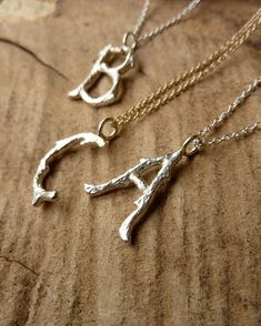 Silver Branch Initial Necklace by kateszabone on Etsy
