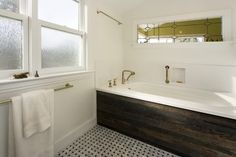 Love the wood - not the brass.   Bathrooms - eclectic - bathroom - san francisco - by Studio Marler