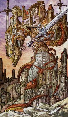 5 d'épées - Universal Fantasy Tarot par Paolo Martinello