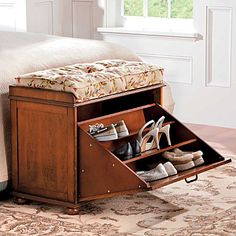 Today only!10% on your purchase. Use Source Code AMA1009  Improvements catalog        Shopping Cart: 1 Items  Order Status My Account Sign In/Register            HomeShoe Storage Bench    View Larger  Additional Views      Shoe Storage Bench  Item: #396326  $159.99        Overview    Specifications    Instructions    Our handsome Shoe Storage Bench hides up to 9 pairs of shoes under a roomy seat.  Use this wood shoe bench to add style and storage to a bedroom or entryway w