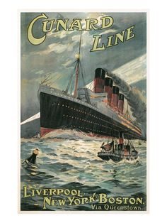 Vintage Travel Poster for Cunard Lines Art Print at AllPosters.com