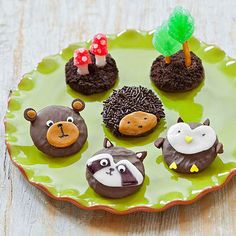 Kids are sure to go wild for this forest full of sweet flora and fauna. Easily assembled from basic ingredients—including chocolate-covered cookies, caramel chews, and Vanilla Tootsie Rolls—these desserts make a great snacktivity or a special surprise after a hike.
