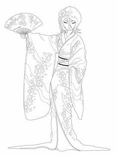Kimono Dance_lineart by Brueissa deviantart Cool Coloring Pages, Adult Coloring Pages, Coloring Books, Japanese Quilt Patterns, Japanese Quilts, Japanese Cartoon, Japanese Art, Geisha Tattoo Design, Oriental People