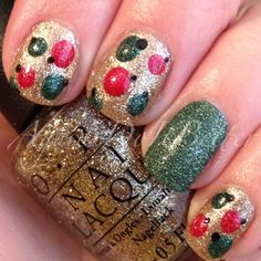 Christmas nails 2013 #xmasnorules red and green texture ornament nails! OPI all sparkly and gold, magazine cover mouse, and zoya pixiedust Chita!