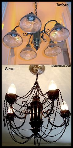 FLIP THE BRASS CHANDELIER FROM KITCHEN AND PAINT, THEN PLACE ABOVE BATHTUB>