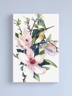 """""""Hummingbird and Magnolia Flowers"""" Canvas Print by surenart 