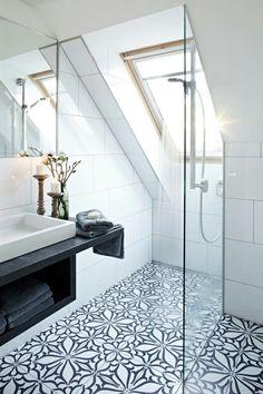Sleek modern bathroom with pattered tile