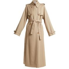 Gabriela Hearst Lorna double-breasted wool trench coat (€2.540) ❤ liked on Polyvore featuring outerwear, coats, belted coat, beige wool coat, beige coat, belted wool coat and belted trench coat