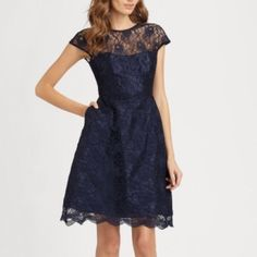 Monique Lhuillier Navy Lace Cocktail Dress Perfect dress for a wedding guest! Bought to wear somewhere and then never did... Oops! Great condition and never worn, falls just above knee. Could also work as bridesmaid dress! Monique Lhuillier Dresses Midi