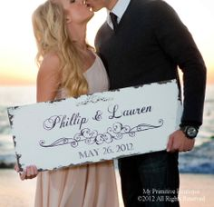 Vintage SAVE THE DATE Sign, Wedding Sign, Anniversary Sign, House Warming Gift, Custom Name Sign, 30x12, Shabby Chic Sign.