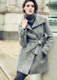 Check mate Kenneth Cole belted funnel neck coat @macys